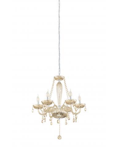 EGLO 39092 - BASILANO Lámpara colgante de Cristal en Acero cromo y Vidrio