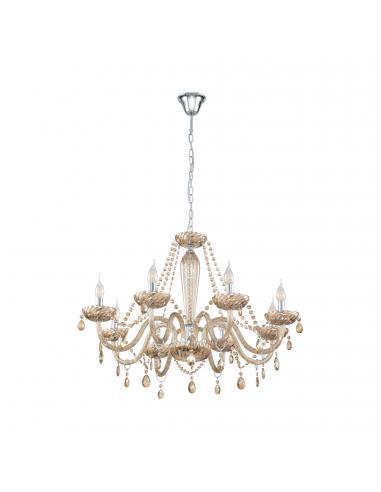 EGLO 39093 - BASILANO Lámpara colgante de Cristal en Acero cromo y Vidrio