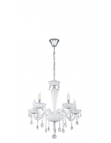 EGLO 39113 - CARPENTO Lámpara colgante de Cristal en Acero cromo y Vidrio