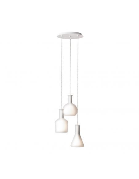 EGLO 39142 - PASCOA Lámpara colgante de Cristal en Acero blanco y Vidrio opalino