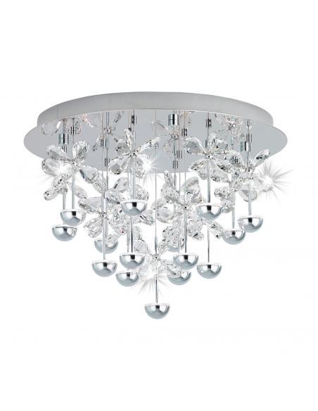 EGLO 39245 - PIANOPOLI Plafón LED en Acero inoxidable cromo y Cristal
