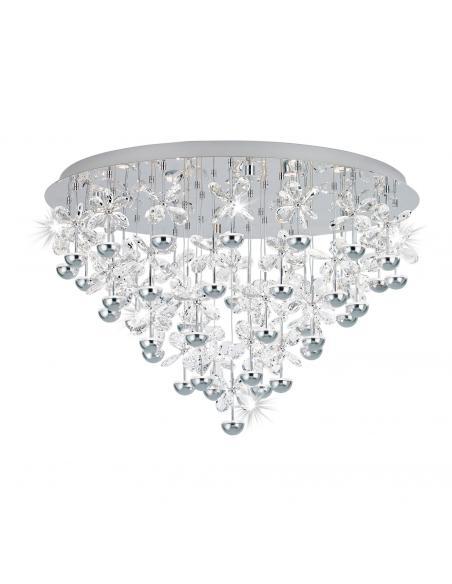 EGLO 39246 - PIANOPOLI Plafón LED en Acero inoxidable cromo y Cristal