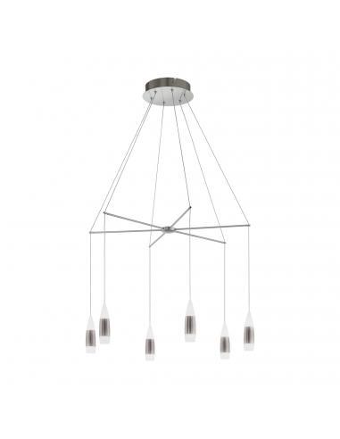 EGLO 39326 - SANTIGA Lámpara colgante LED en Acero níquel-mate y Plastico, aluminio