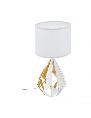 EGLO 43078 - CARLTON 5 Lámpara de Tela en Acero blanco, oro miel y Textil