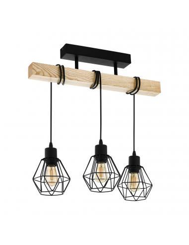EGLO 43131 - TOWNSHEND 5 Lámpara de Salón en Acero, madera negro, marrón