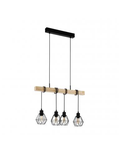 EGLO 43132 - TOWNSHEND 5 Lámpara colgante de Madera en Acero, madera negro, marrón