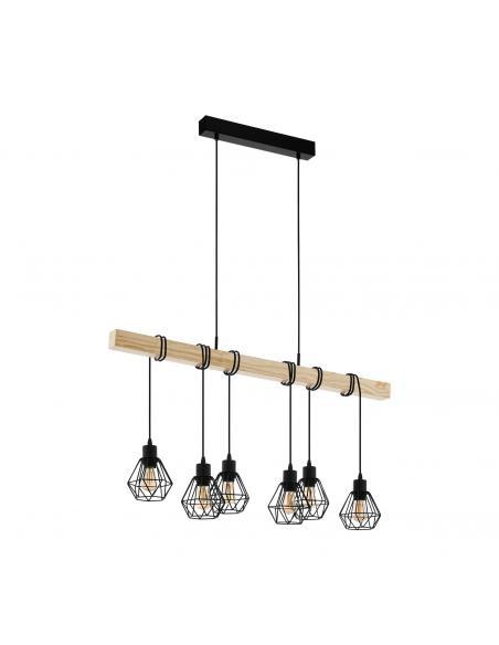 EGLO 43133 - TOWNSHEND 5 Lámpara colgante de Madera en Acero, madera negro, marrón