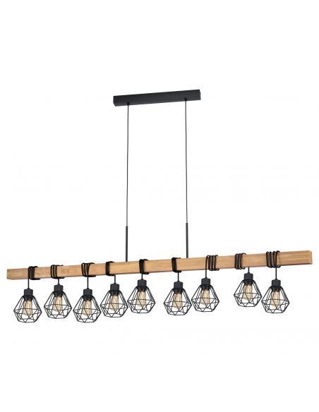 EGLO 43134 - TOWNSHEND 5 Lámpara colgante de Madera en Acero, madera negro, marrón