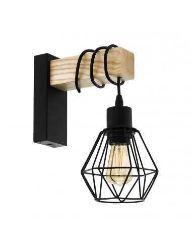 EGLO 43135 - TOWNSHEND 5 Lámpara de Salón en Acero, madera negro, marrón