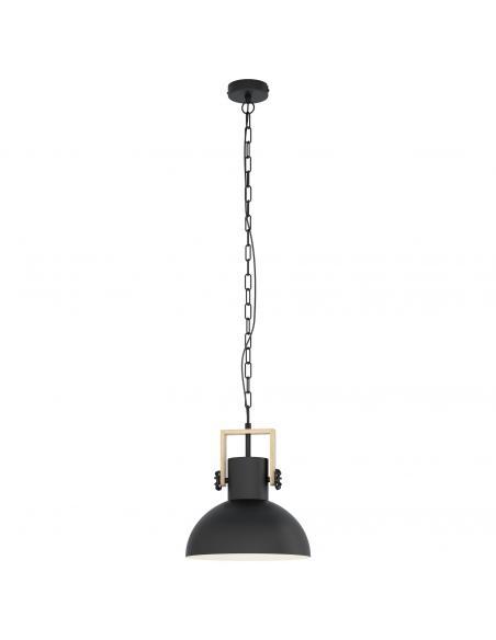EGLO 43162 - LUBENHAM Lámpara colgante de Madera en Acero, madera negro, marrón