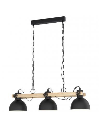 EGLO 43163 - LUBENHAM Lámpara colgante de Madera en Acero, madera negro, marrón