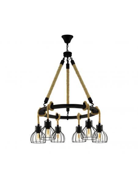 EGLO 43194 - RAMPSIDE Lámpara colgante de Madera en Acero, madera negro, marrón