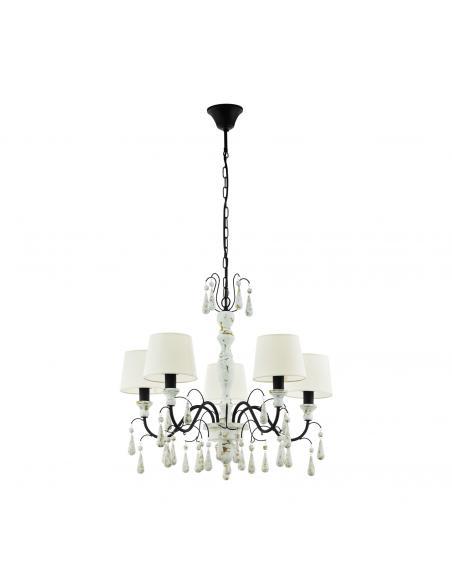 EGLO 43234 - CHALTISHAM 1 Lámpara colgante de Madera en Acero, madera y Textil