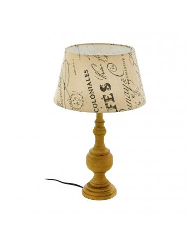 EGLO 43244 - THORNHILL 1 Lámpara de Tela en Madera marrón y Textil impreso