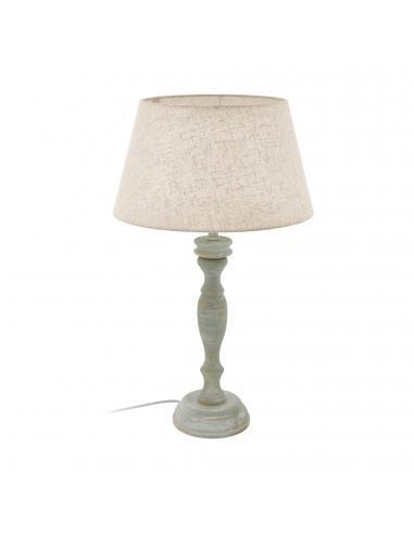 EGLO 43246 - LAPLEY Lámpara de Tela en Madera gris-pátina y Textil