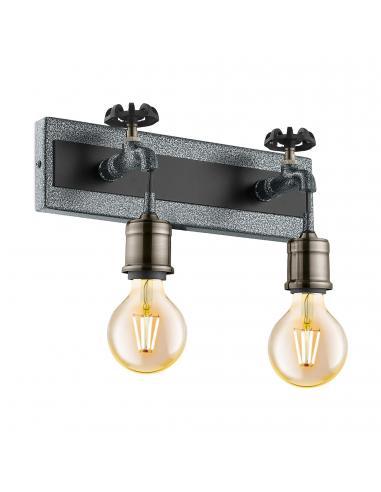 EGLO 49102 - GOLDCLIFF Lámpara de Salón en Acero, madera plata-antiguo, negro y Acero