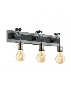 EGLO 49103 - GOLDCLIFF Lámpara de Salón en Acero, madera plata-antiguo, negro y Acero