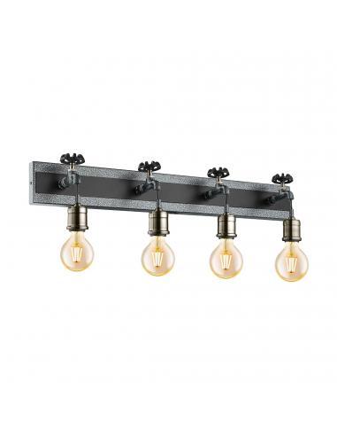 EGLO 49104 - GOLDCLIFF Lámpara de Salón en Acero, madera plata-antiguo, negro y Acero