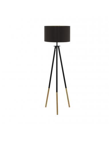 EGLO 49148 - BIDFORD Lámpara de Salón en Madera, acero marrón y Textil