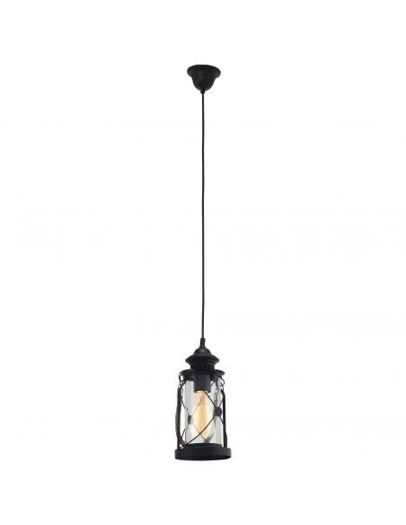 EGLO 49213 - BRADFORD Lámpara colgante de Cristal en Acero negro y Vidrio