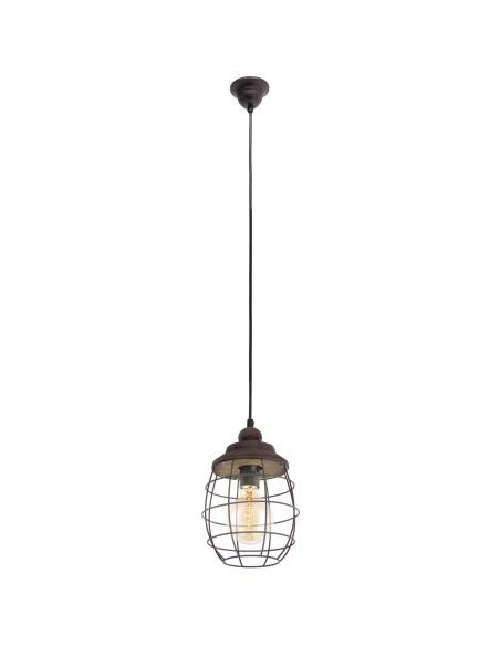 EGLO 49219 - BAMPTON Lámpara colgante de Madera en Acero, madera marrón-pátina