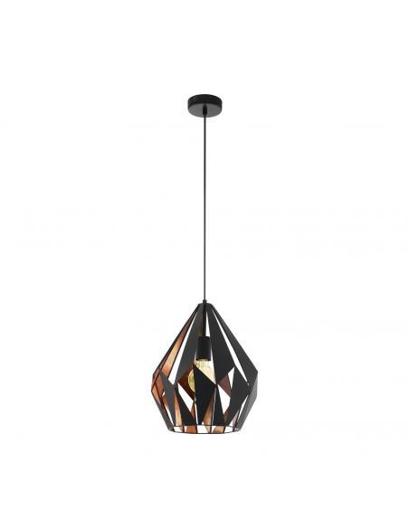 EGLO 49254 - CARLTON 1 Lámpara colgante de Cobre en Acero negro, cobre