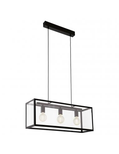 EGLO 49393 - CHARTERHOUSE Lámpara colgante de Cristal en Acero negro y Vidrio