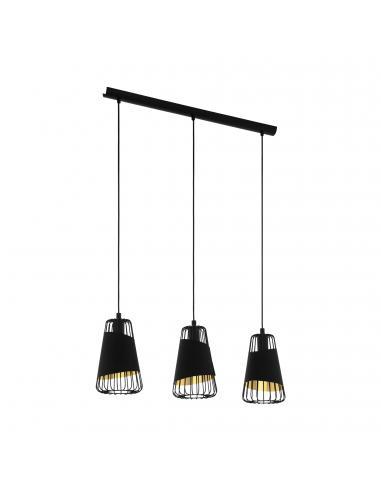 EGLO 49448 - AUSTELL Lámpara de Salón en Acero negro y Acero, textil