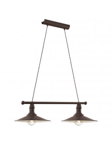 EGLO 49457 - STOCKBURY Lámpara de Salón en Acero marrón antiguo, beige