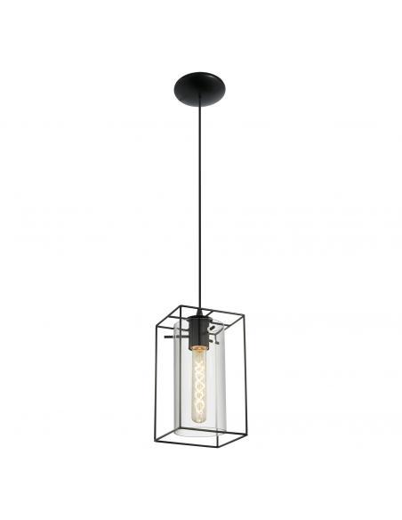 EGLO 49495 - LONCINO Lámpara colgante de Cristal en Acero negro y Vidrio tintado