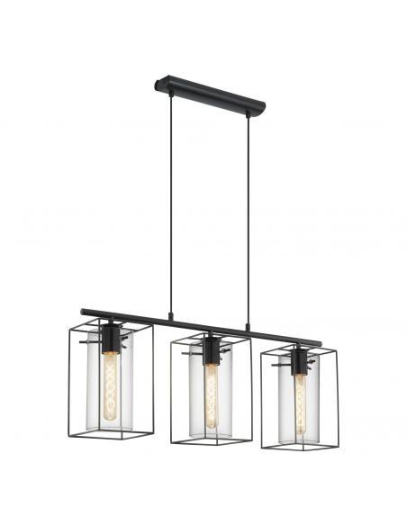 EGLO 49496 - LONCINO Lámpara colgante de Cristal en Acero negro y Vidrio tintado