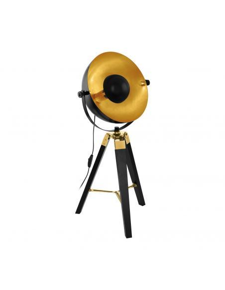 EGLO 49617 - COVALEDA Lámpara de Salón en Madera, acero negro, latón, oro