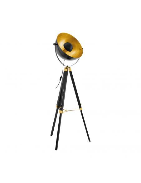EGLO 49618 - COVALEDA Lámpara de Salón en Madera, acero negro, latón, oro