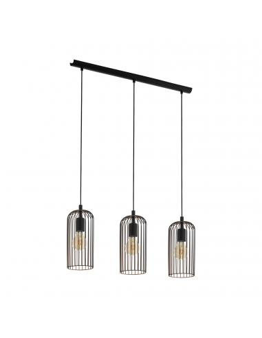 EGLO 49645 - ROCCAMENA Lámpara colgante de Cobre en Acero negro, cobre