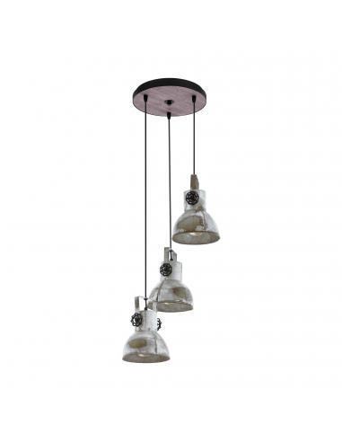 EGLO 49647 - BARNSTAPLE Lámpara colgante de Madera en Madera, acero marrón-pátina, negro y Acero