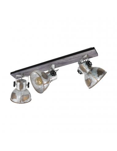 EGLO 49652 - BARNSTAPLE Foco LED en Madera, acero marrón-pátina, negro y Acero