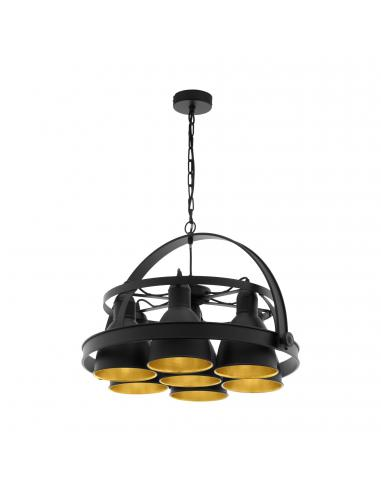 EGLO 49682 - BACKBARROW Lámpara de Salón en Acero negro, oro