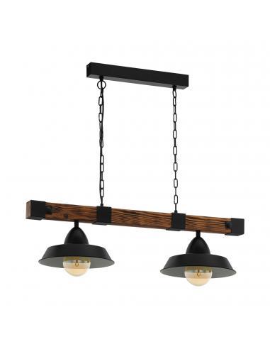 EGLO 49684 - OLDBURY Lámpara colgante de Madera en Acero, madera negro, marrón rústico