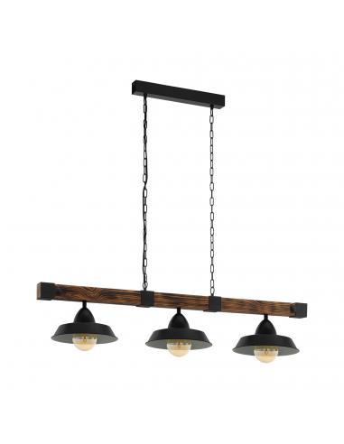 EGLO 49685 - OLDBURY Lámpara colgante de Madera en Acero, madera negro, marrón rústico
