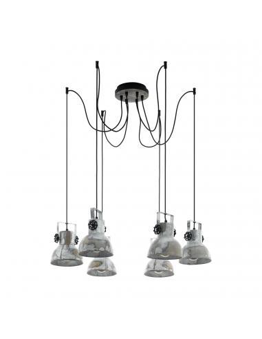 EGLO 49732 - BARNSTAPLE Lámpara colgante de Madera en Madera, acero marrón-pátina, negro y Acero