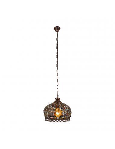 EGLO 49764 - JADIDA Lámpara colgante de Cobre en Acero colores de cobre antiguo y Vidrio