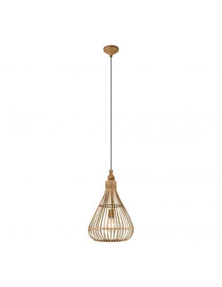 EGLO 49772 - AMSFIELD Lámpara colgante de Madera en Acero marrón y Madera