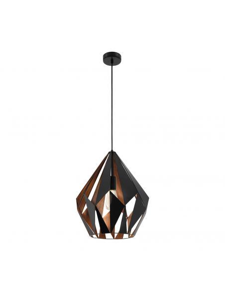 EGLO 49878 - CARLTON 1 Lámpara colgante de Cobre en Acero negro, cobre