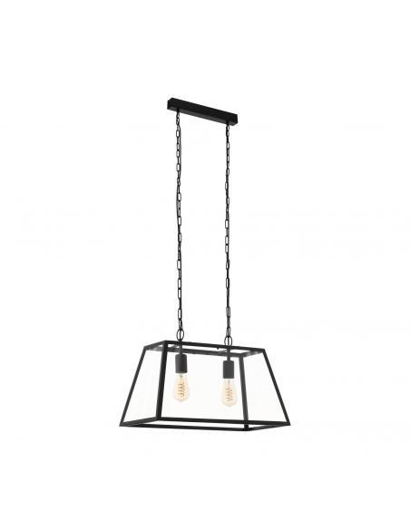 EGLO 49883 - AMESBURY 1 Lámpara colgante de Cristal en Acero negro y Vidrio