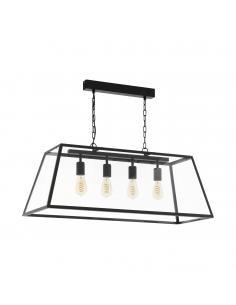 EGLO 49886 - AMESBURY 1 Lámpara colgante de Cristal en Acero negro y Vidrio