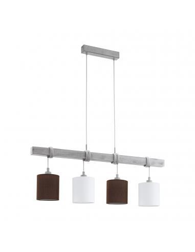 EGLO 49927 - TOWNSHEND 2 Lámpara colgante de Madera en Acero, madera blanco-pátina y Textil, lino