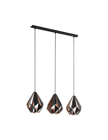 EGLO 49991 - CARLTON 1 Lámpara colgante de Cobre en Acero negro, cobre
