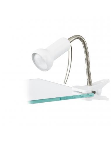 EGLO 81262 - FABIO Lámpara de Pinza LED en Acero, plástico blanco, plata