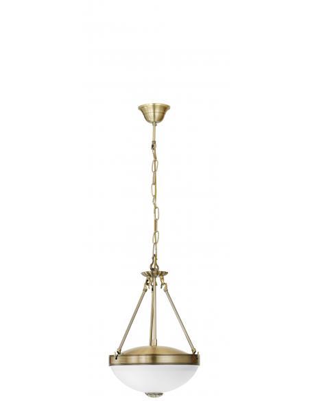 EGLO 82747 - SAVOY Lámpara colgante de Cristal en Fundición de metal bruñido y Vidrio satinado