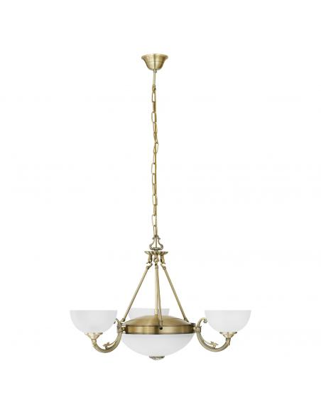 EGLO 82748 - SAVOY Lámpara colgante de Cristal en Fundición de metal bruñido y Vidrio satinado